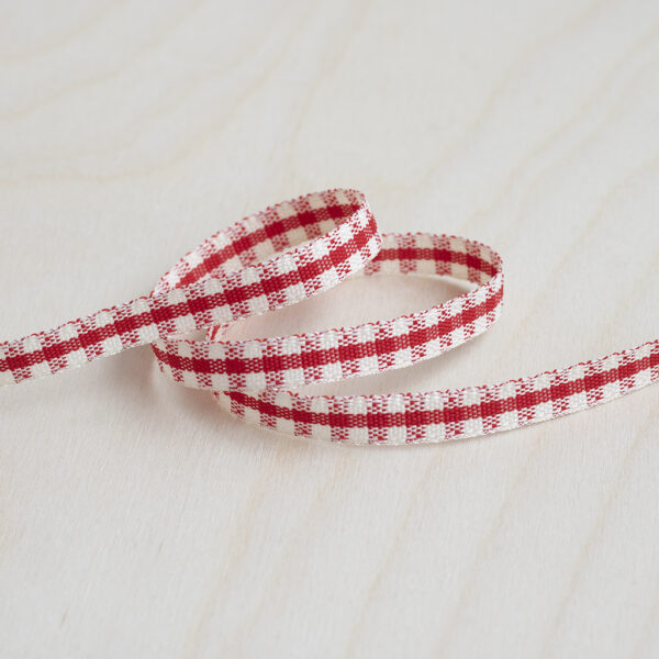 Red and Ivory Gingham Ribbon