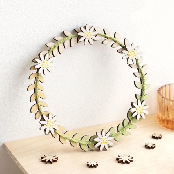 Wooden daisy chain wreath