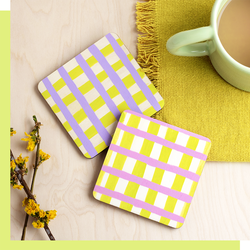 Pastel Check Coasters