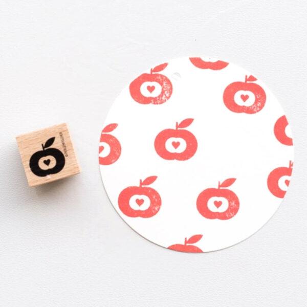 Retro Apple Rubber Stamp by Perlenfischer