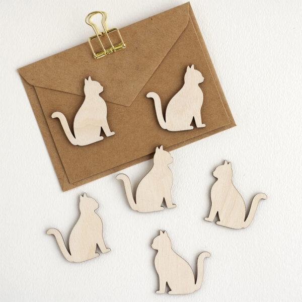 Mini Wooden Cat Embellishments