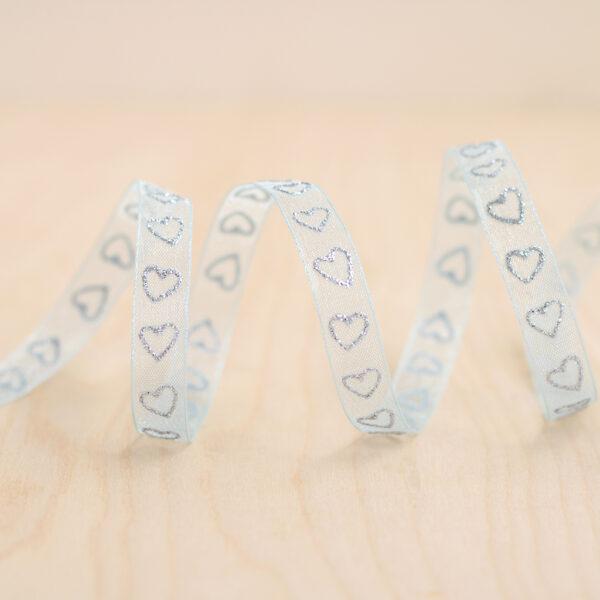 Blue & Silver Glitter Heart Sheer Ribbon ~ 9mm