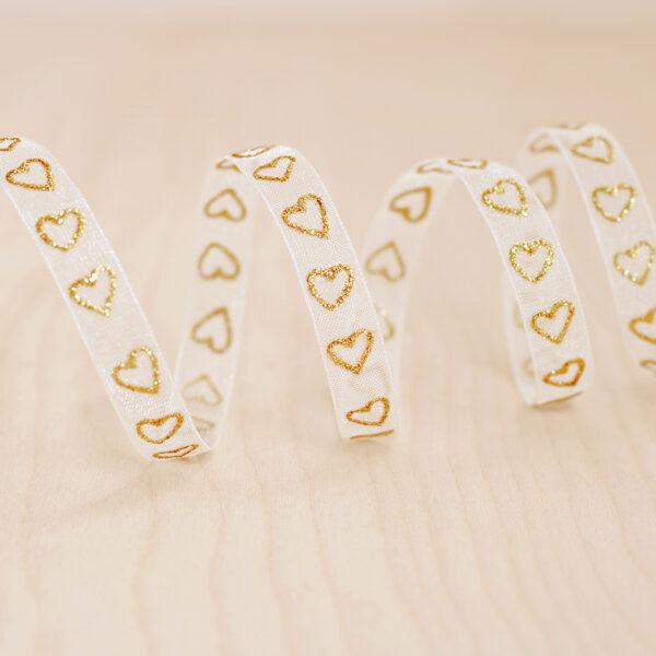 White & Gold Glitter Heart Sheer Ribbon ~ 9mm