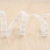 White & Silver Glitter Heart Sheer Ribbon ~ 9mm