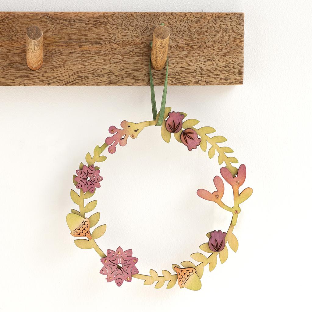Small autumnal wreath handmade from Birch wood