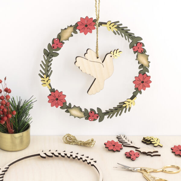 Christmas Wreath with Dove centre made from Birch wood.