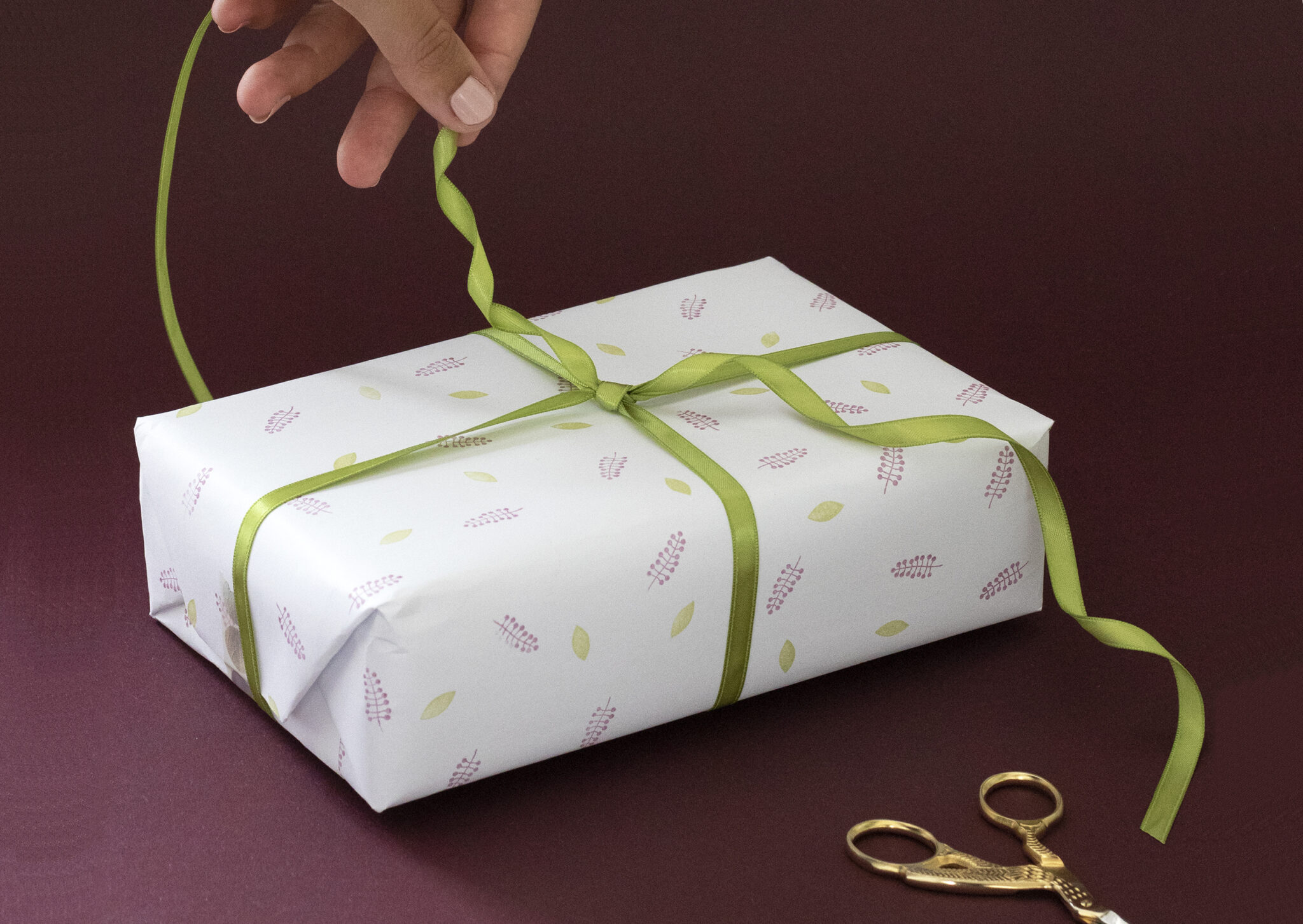 Burgundy and green handmade gift wrap