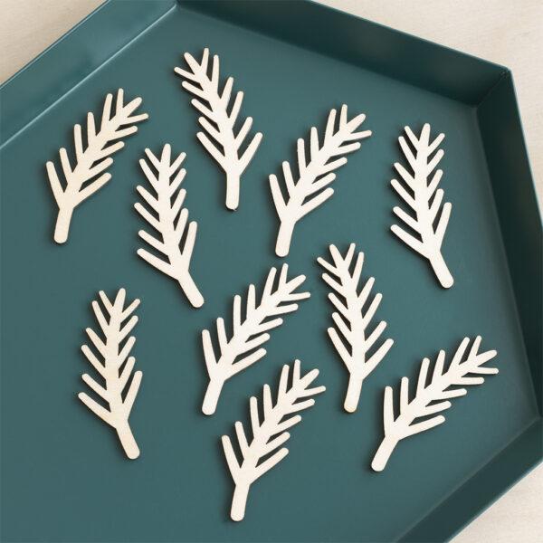 mini wooden fir sprigs