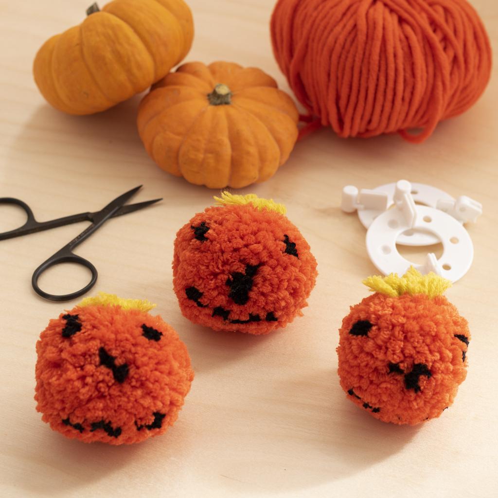 Pumpkin pom poms